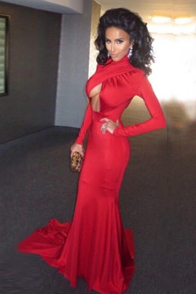Red Mermaid Floor Length Dresses