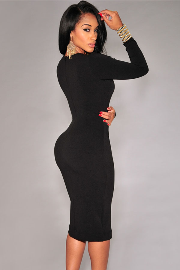 Cheap Sexy V Neck Long Sleeves Front Split Black Polyester Sheath ...