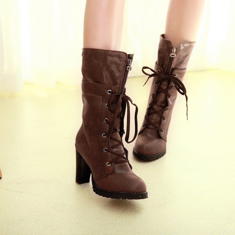 cheap winter fashion toe lace up chunky high heel