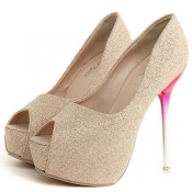 Cheap Fashion Round Peep Toe Platform Stiletto Super High Heel Gold PU Basic Pumps