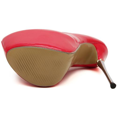 Cheap Fashion Round Closed Toe Platform Stiletto Super High Heel Red PU Basic Pumps