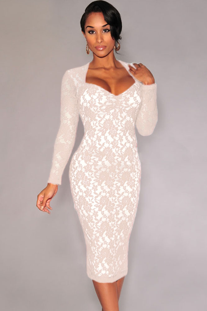 white lace dress with sleeves knee length | Gommap Blog