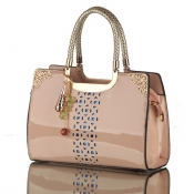 Cheap Fashion Zipper Design Solid Apricot Patent Leather Clutches Bag