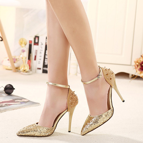 Gold High Heels With Ankle Strap