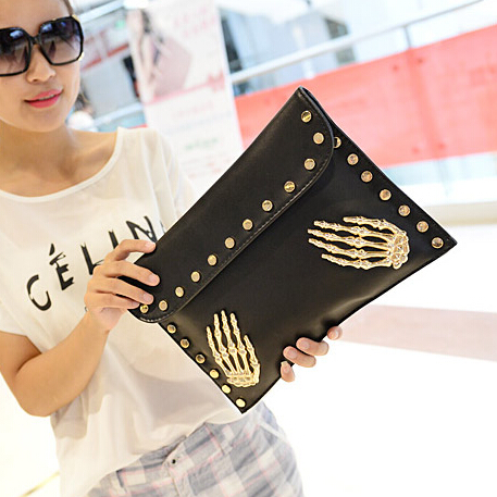 Cheap Retro Fashion Hasp Design Skeleton Palms Embellished Solid Black PU Clutches Bag