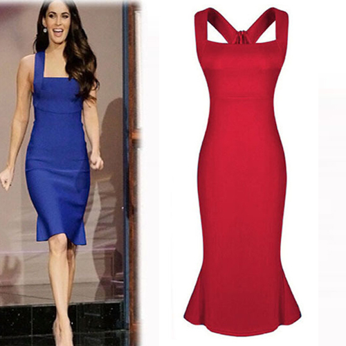 Cheap Sexy Square Neck Spaghetti Strap Sleeveless Red Polyester ...