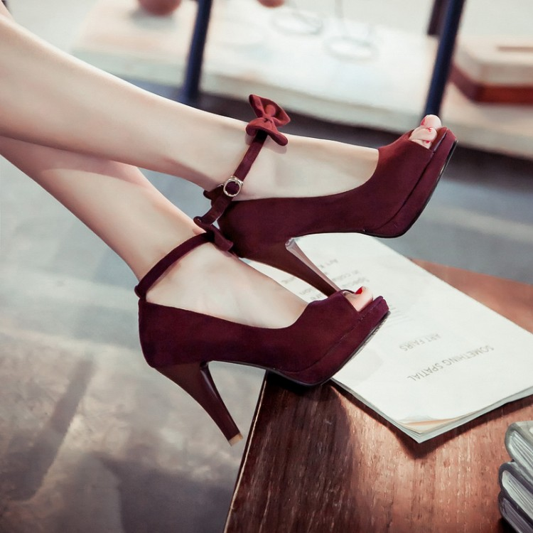 Cheap Vintage Peep Toe Stiletto Super High Heel Red Suede Ankle