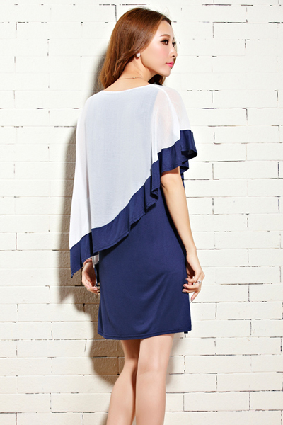 g nstige mode o ansatz mit kurzen rmeln patchwork blau chiffon mantel minibodycon dress dresses. Black Bedroom Furniture Sets. Home Design Ideas