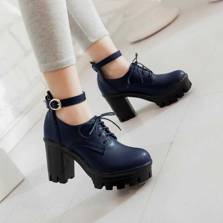 Cheap Fashion Round Closed Toe Lace-up Chunky High Heels Blue PU ...