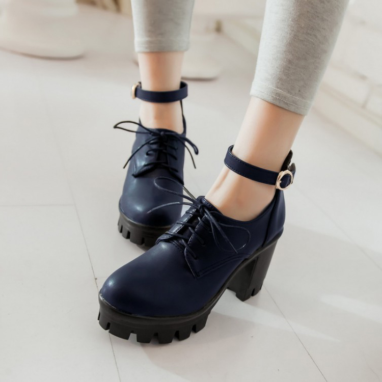 Cheap Fashion Round Closed Toe Lace-up Chunky High Heels Blue PU