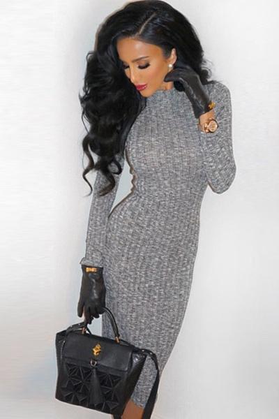 Cheap long sleeve black mini dress