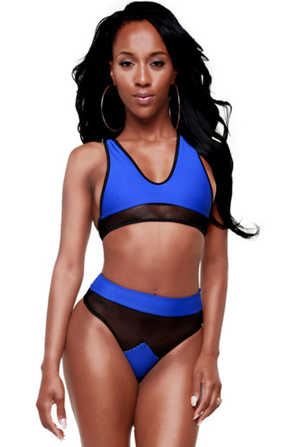 Cheap Sexy Blue Mesh Spicy High-waist Racer Bikini_Bikinis ...