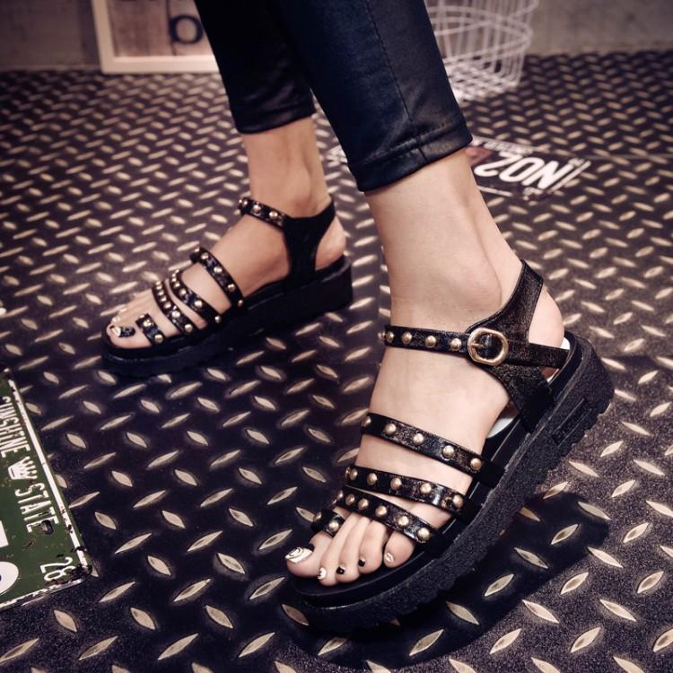 cheap fashion wedge mid heel black pu gladiator sandals