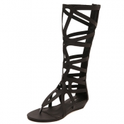 Cheap Fashion Clip Toe Hollow-out Flat Low Heel Black PU Gladiator Sandals
