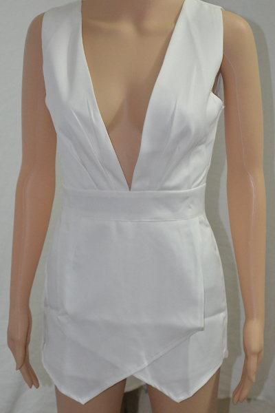 Sexy V Neck Tank Sleeveless Asymmetrical Solid White Mini Dress