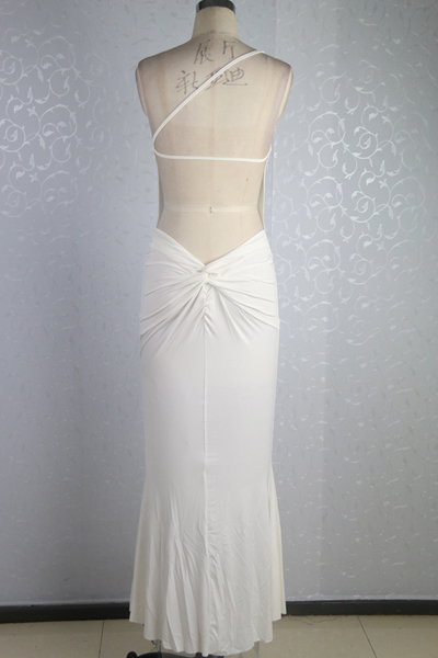 cheap sleeveless backless white mermaid ankle length