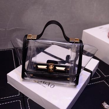 Cheap Women Fashion Hasp Design Transparent Patchwork Black PU
