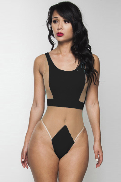 Cheap Sexy Mesh Patchwork Black One-piece Teddy Swimwear ...