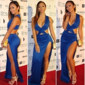 Cheap Sexy V Neck Tank Sleeveless Side Split Blue Polyester Ankle Length Dress