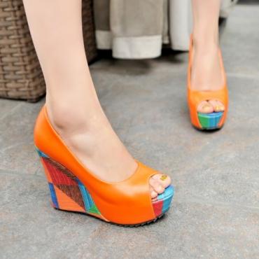 Cheap Fashion Round Peep Toe Chunky High Heels Orange PU  Pumps
