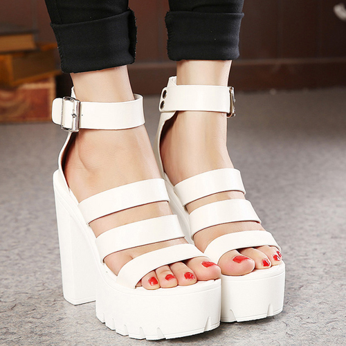 Fashion Chunky Super High Heel White PU Ankle Strap Sandals