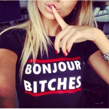 Cheap Fashion O Neck Letters Print  Short Sleeves  Black Blending  T-shirt
