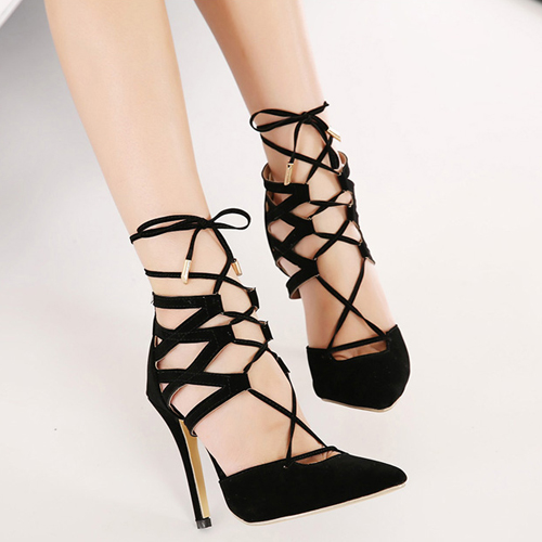 Cheap Fashion Pointed Closed Toe Lace-up Stiletto Super High Heel