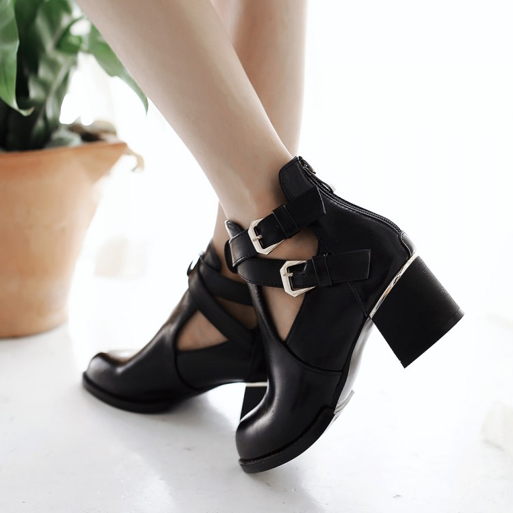 Fashion Pointed Closed Toe Buckle Design Chunky Mid Heel Black PU Basic Pumps
