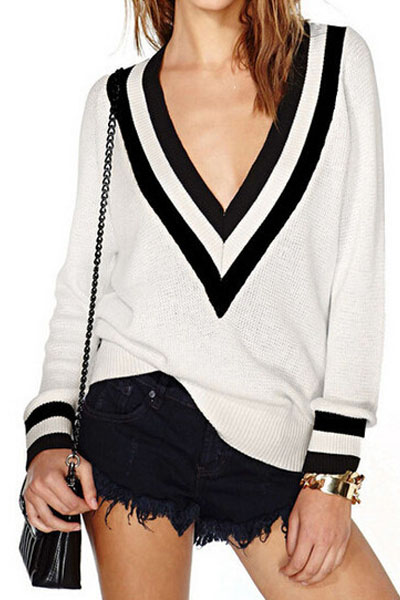 Fashion V Neck Long Sleeves Patchwork White Blending Regular Pullover Sweater
