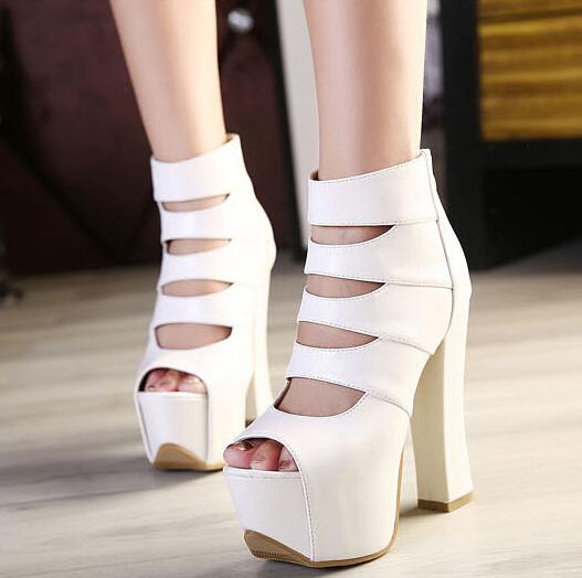 Fashion Round Peep Toe Cut-out Platform Chunky Super High Heel White PU Basic Pumps