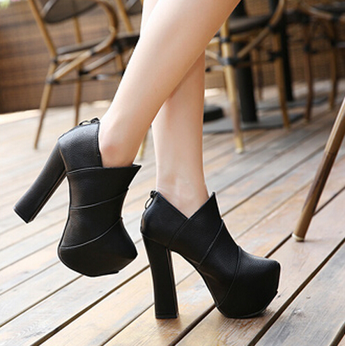 fashion round closed toe chunky super high heel black pu
