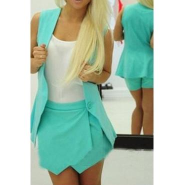 Fashion Sleeveless Blau Polyester Zweiteiler (Mantel + Kurzschlüsse)