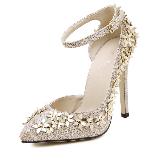 Fashion Pointed Closed Toe Flower Decorated Stiletto Super High ...