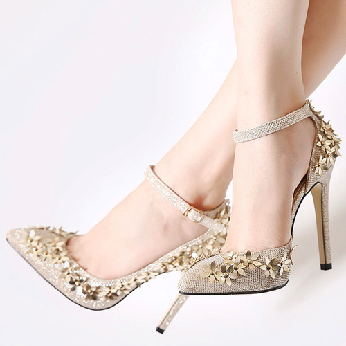 Fashion Pointed Closed Toe Flower Decorated Stiletto Super High