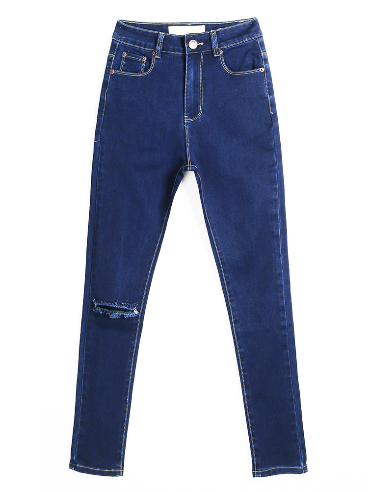 Causal Broken Hole Button Fly Design Solid Blue Blending Mid Skinny Pants