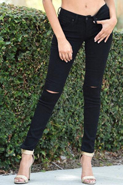 Casual Broken Holes Button Fly Design Solid Black Blending Skinny Pants