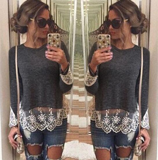 Fashion O Neck Long Sleeves Lace Trim Patchwork Grey Blending T-shirt