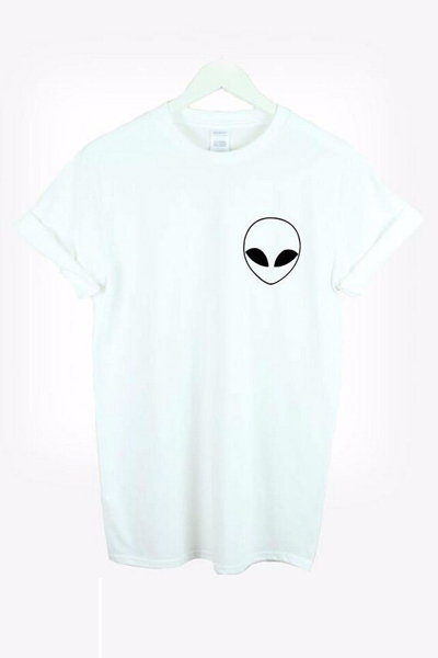 Casual O Neck Short Sleeves Alien Print White Cotton Blend T-shirt