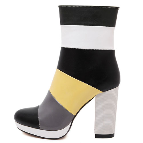 Fashion Round Toe Patchwork Zipper Design Chunky Super High Heel Black PU Ankle Martens Boots