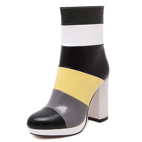 Fashion Round Toe Patchwork Zipper Design Chunky Super High Heel Black PU Ankle Martens Boots