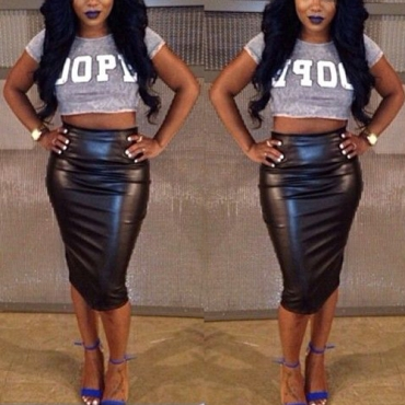 Sexy Back Split Solid Black PU Sheath Knee Length Skirt