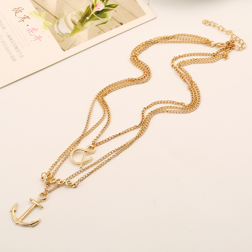 Fashion Multi-layered Gold Tassel Metal Necklace