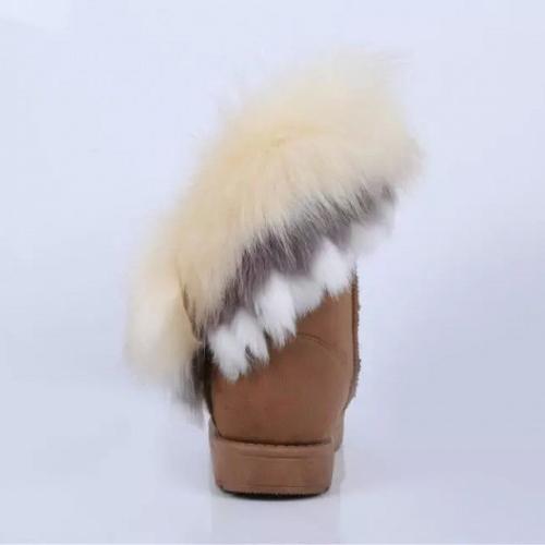 зимней моды круглый носок перья украшены скольжения на плоской низкой пятки цвета хаки PU середине теленка снега сапоги