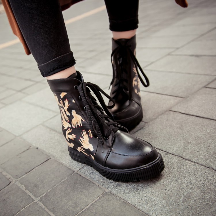 autumn toe print lace up wedge low heel
