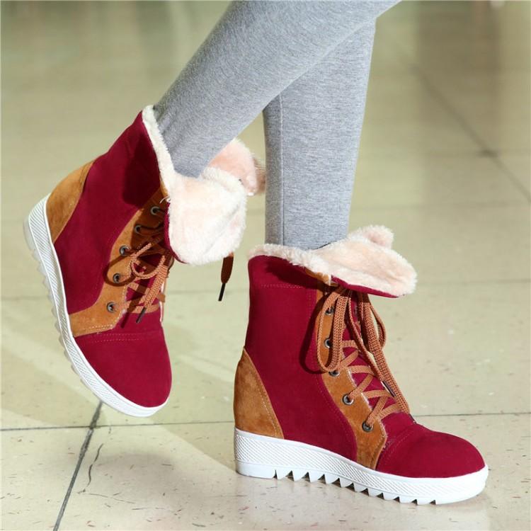 зима круглый носок кружева вверх плоские низком каблуке красный PU лодыжки снегоступы