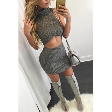 Sexy turtleneck sin mangas mezcla de algodón gris conjunto de falda de dos piezas