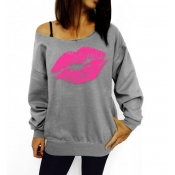 Casual Long Sleeves Lips Print Grey Cotton Blend Regular Pullover Sweat