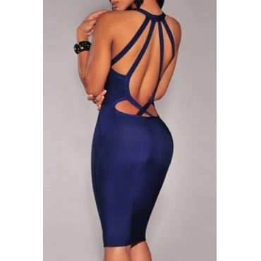 Cheap Sexy V Neck Tank Sleeveless Backless Hollow-out Navy Blue Polyester Sheath Mini Pencil Dress