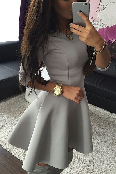Fashion O Neck Long Sleeves Grey Polyester Mini Skater Dress