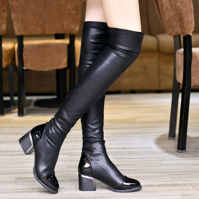 Winter Pointed Toe Black PU Chunky High Heel Slip On Over the Knee Cavalier Boots
